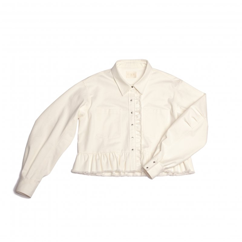 GYF TOKYO - THE MA-1 LIKE FRILL DENIM JACKET (WHITE)