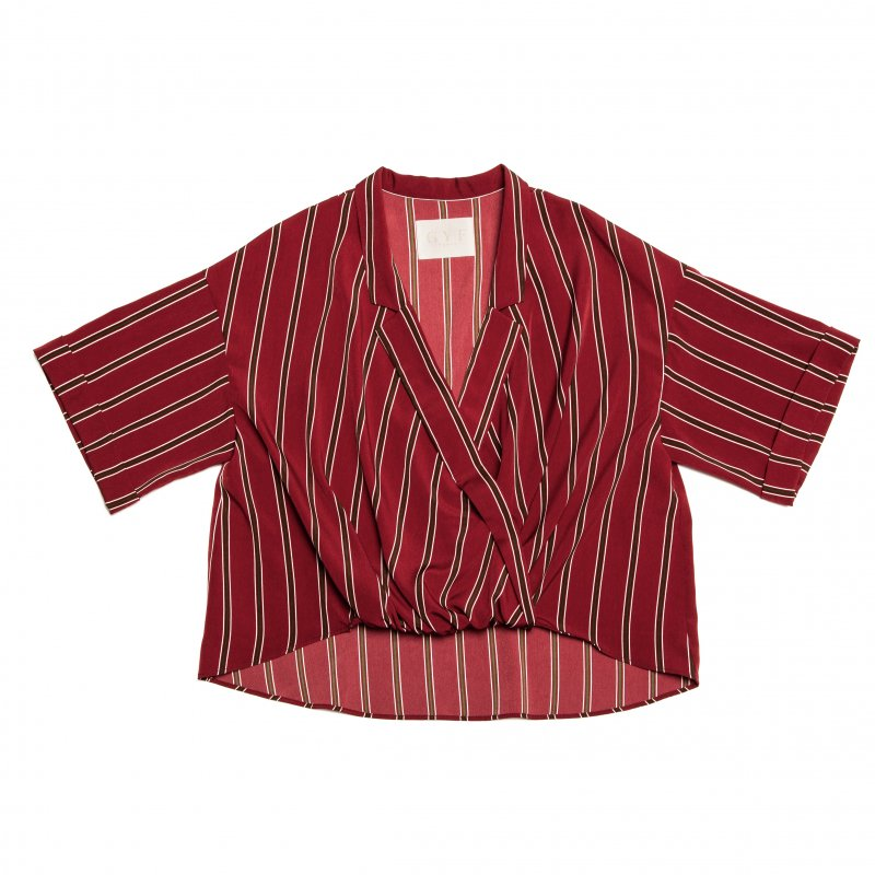 GYF TOKYO - THE STRIPE RELAX SHIRT (WINE RED)