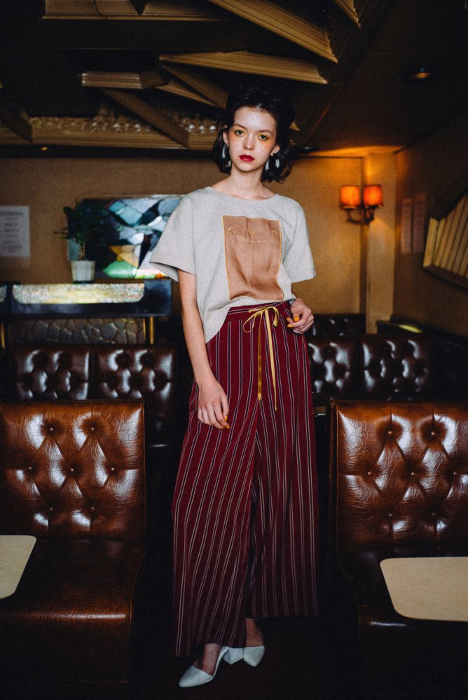 THE STRIPE EASY WIDE PANTS (WINE RED)