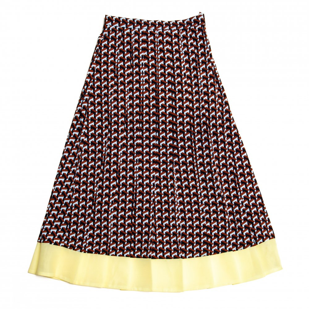 THE GEOMETRIC PATTERN PLEATED SKIRT (LIGHT BLUE)