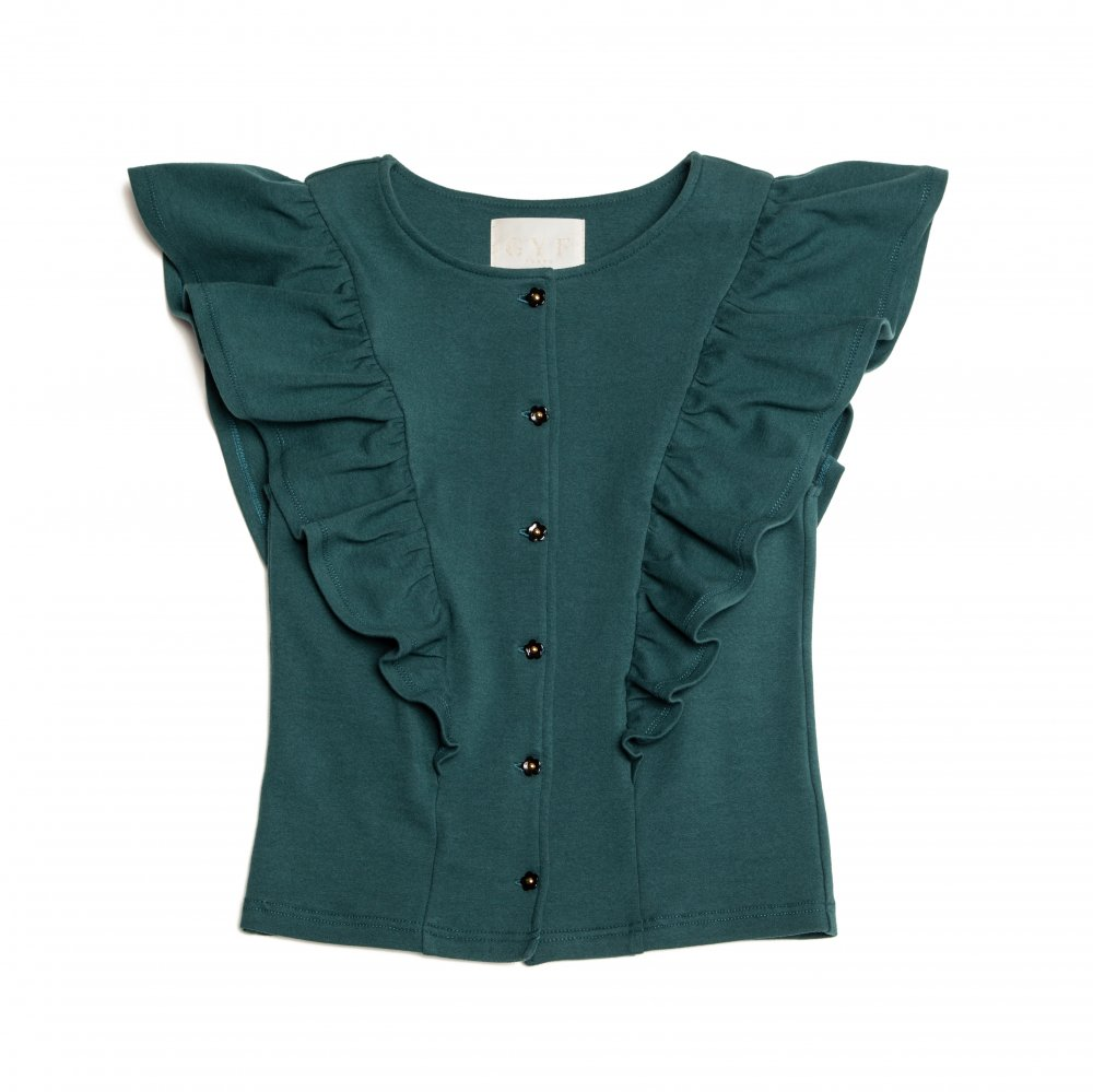 THE FLOWER BUTTON FRILL TOPS (GREEN)<img class='new_mark_img2' src='https://img.shop-pro.jp/img/new/icons21.gif' style='border:none;display:inline;margin:0px;padding:0px;width:auto;' />