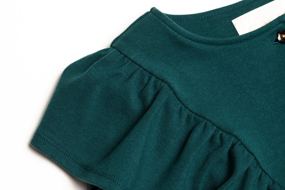 THE FLOWER BUTTON FRILL TOPS (GREEN)