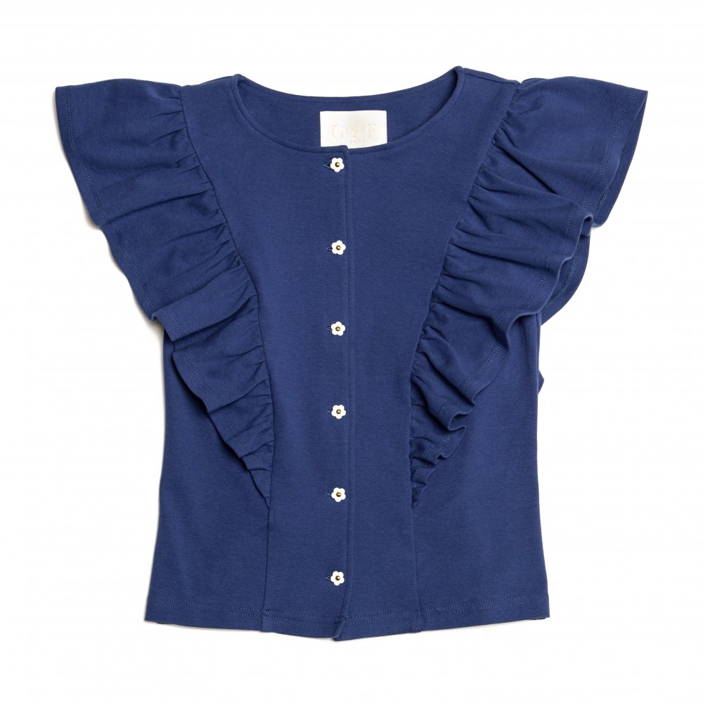THE FLOWER BUTTON FRILL TOPS (BLUE)