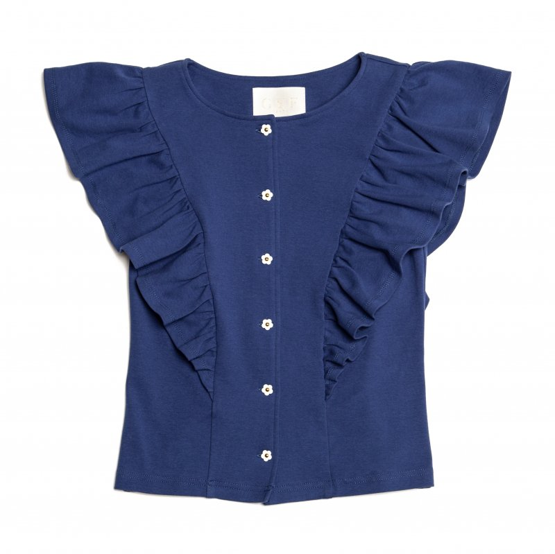 GYF TOKYO - THE FLOWER BUTTON FRILL TOPS (BLUE)<img class='new_mark_img2' src='https://img.shop-pro.jp/img/new/icons21.gif' style='border:none;display:inline;margin:0px;padding:0px;width:auto;' />