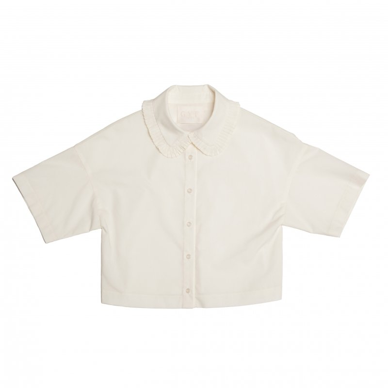 GYF TOKYO - THE PLEATED COLLAR CROPPED LENGTH SHIRT
