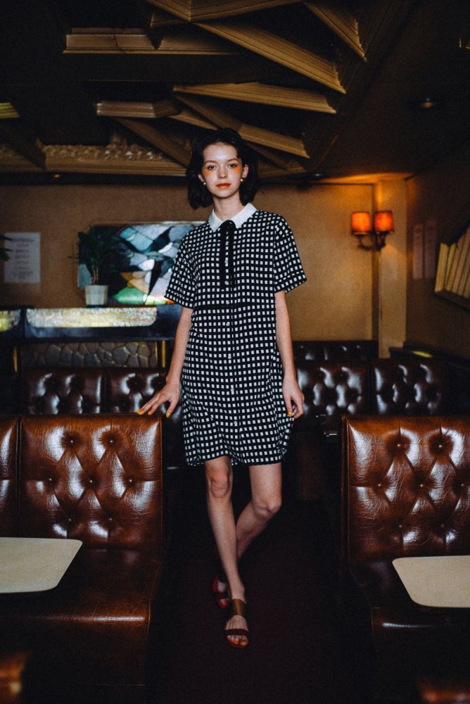 THE BIG SILHOUETTE CHECK SHIRT DRESS