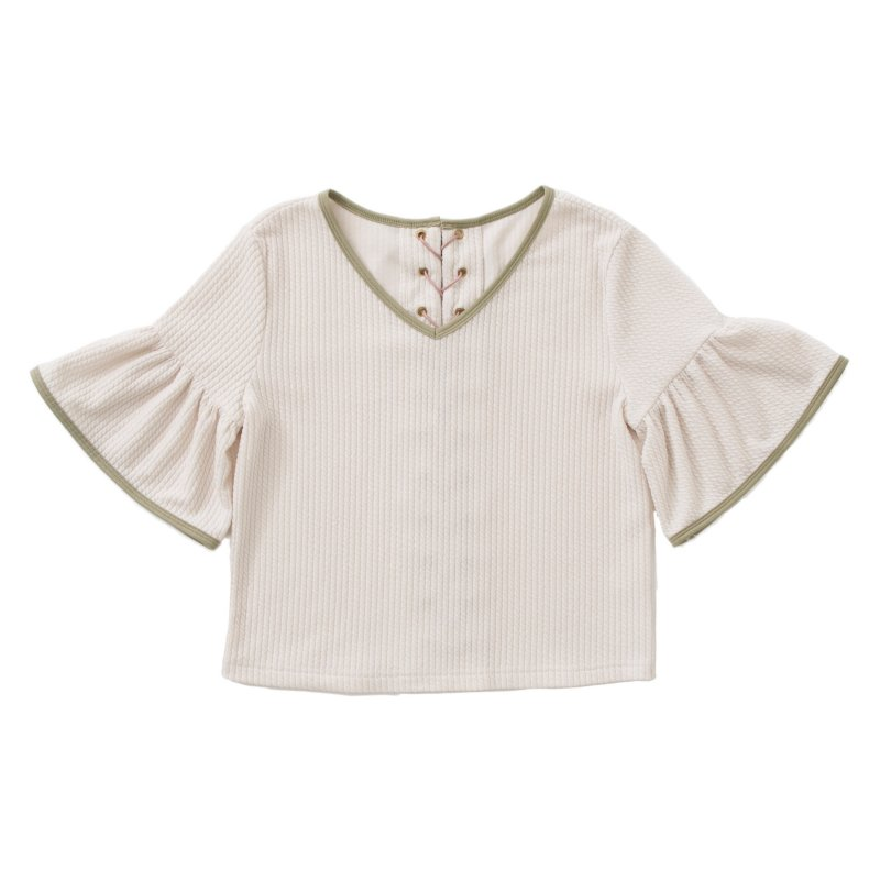 GYF TOKYO - THE  LACE UP FRILL SLEEVE TOPS (OFF-WHITE)