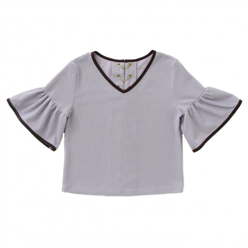 GYF TOKYO - THE  LACE UP FRILL SLEEVE TOPS (GRAY)