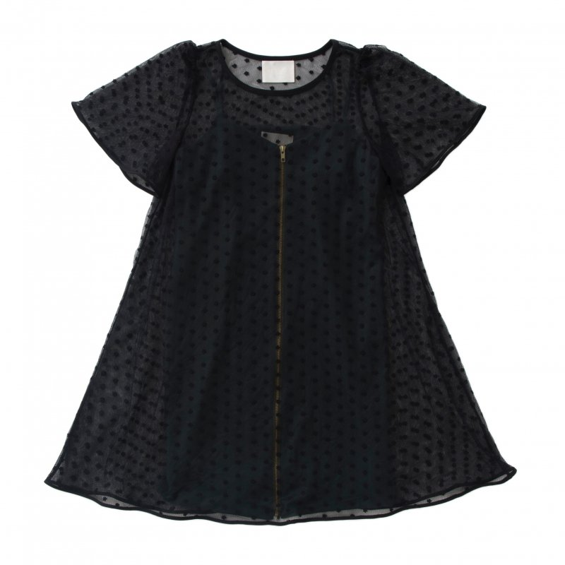 GYF TOKYO - THE FLOWER DOTTED CHIFFON DRESS (BLACK GREEN)