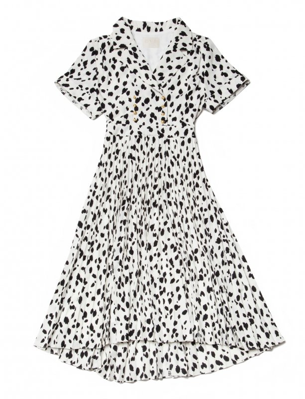 GYF TOKYO - THE DALMATIAN PATTERN PLEATED DRESS (WHITE)