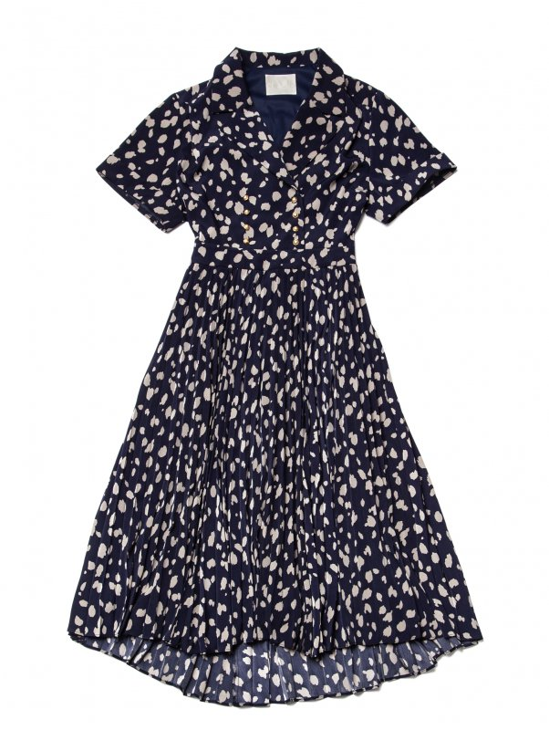 GYF TOKYO - THE DALMATIAN PATTERN PLEATED DRESS (NAVY)
