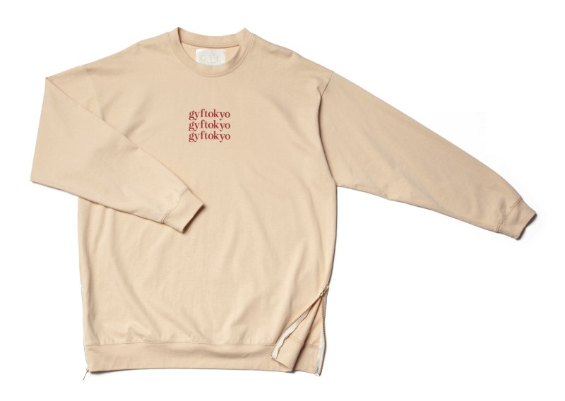 GYF TOKYO - THE OVER SIZED GYF LOGO LONG SLEEVE T-SHIRT (CREAM RED)