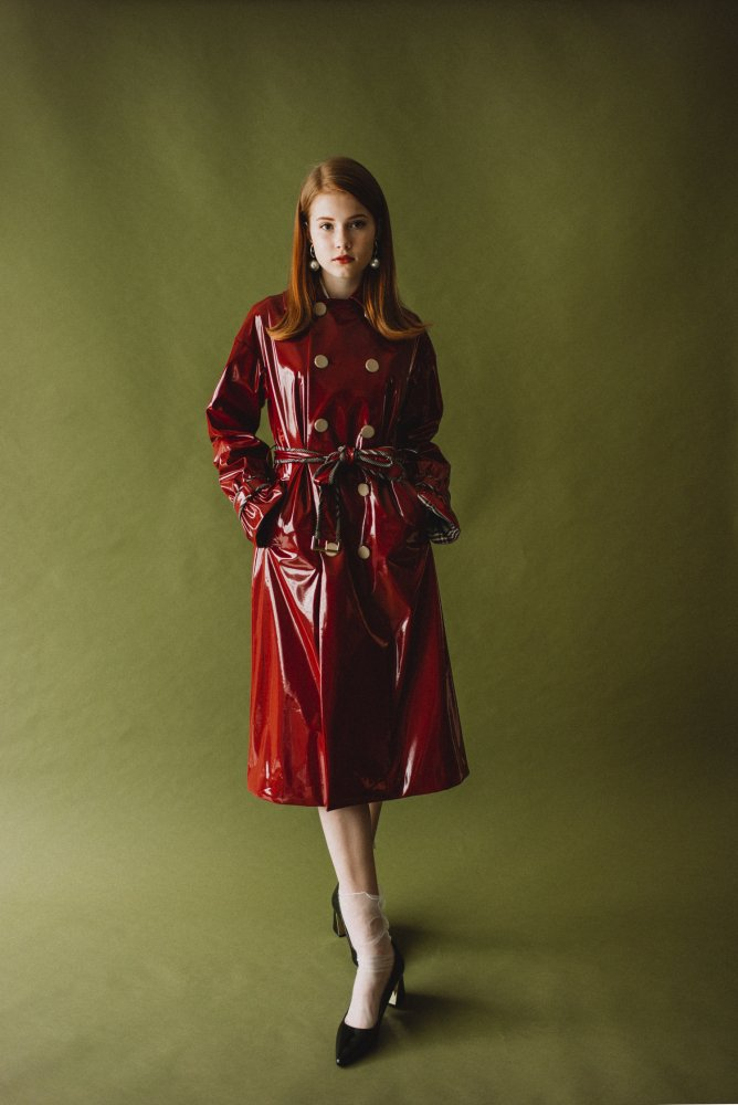 THE BORDEAUX RED VINYL LONG COAT