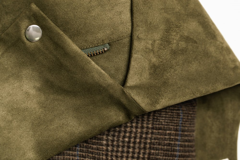 THE BIG FAKE SUEDE LEATHER JACKET (MOSS GREEN)