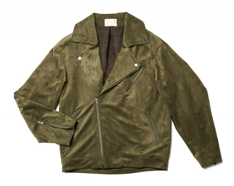GYF TOKYO - THE BIG FAKE SUEDE LEATHER JACKET (MOSS GREEN)<img class='new_mark_img2' src='https://img.shop-pro.jp/img/new/icons21.gif' style='border:none;display:inline;margin:0px;padding:0px;width:auto;' />