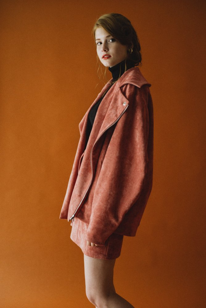 THE BIG FAKE SUEDE LEATHER JACKET (SMOKEY PINK)