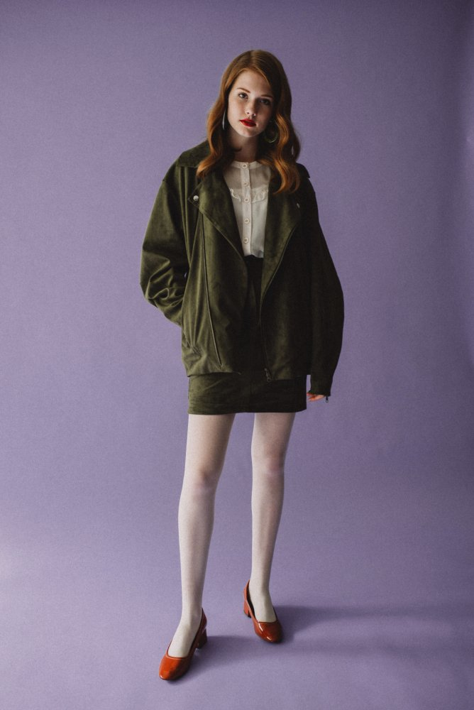 THE FAKE SUEDE LEATHER MINI SKIRT (MOSS GREEN)