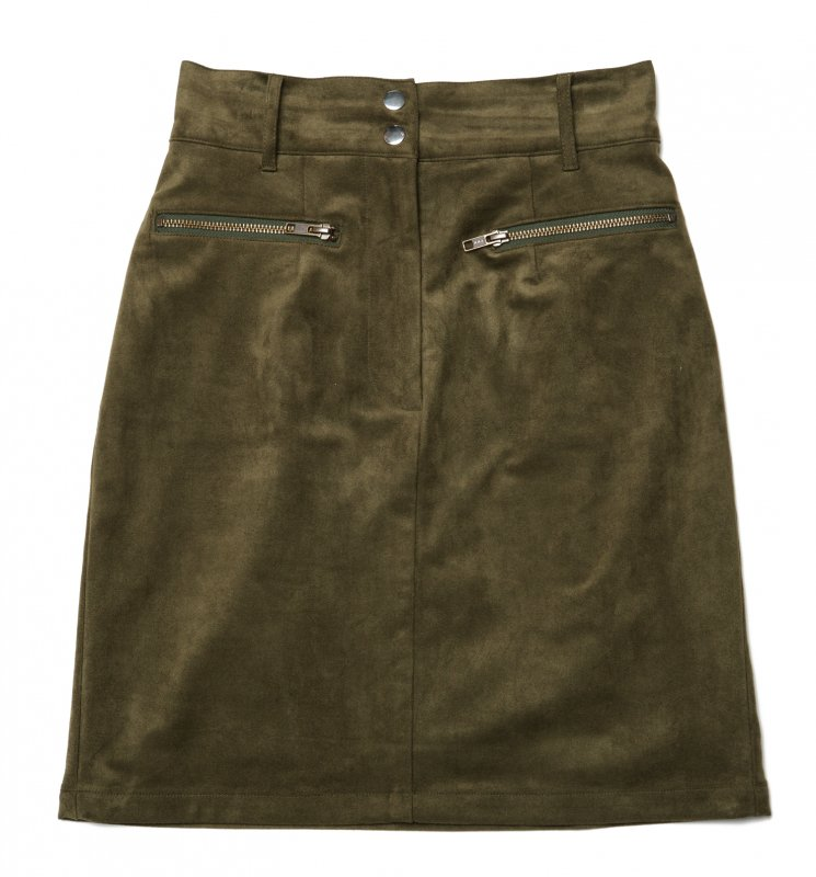 GYF TOKYO - THE FAKE SUEDE LEATHER MINI SKIRT (MOSS GREEN)