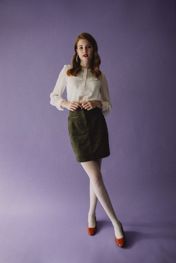 THE FAKE SUEDE LEATHER MINI SKIRT (SMOKEY PINK)