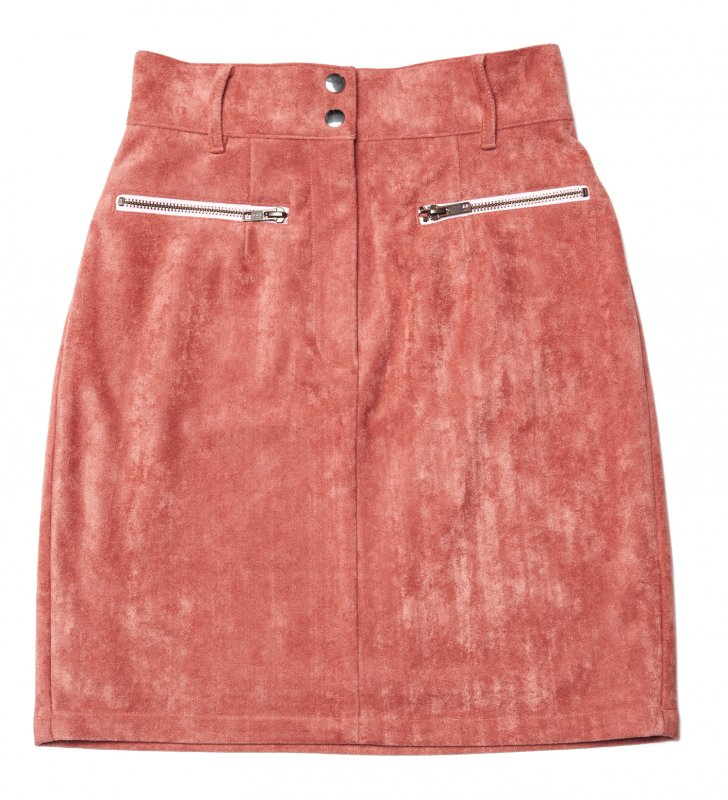 GYF TOKYO - THE FAKE SUEDE LEATHER MINI SKIRT (SMOKEY PINK)