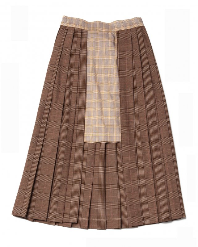 GYF TOKYO - THE CHECK ON CHECK PLEATED WRAP SKIRT