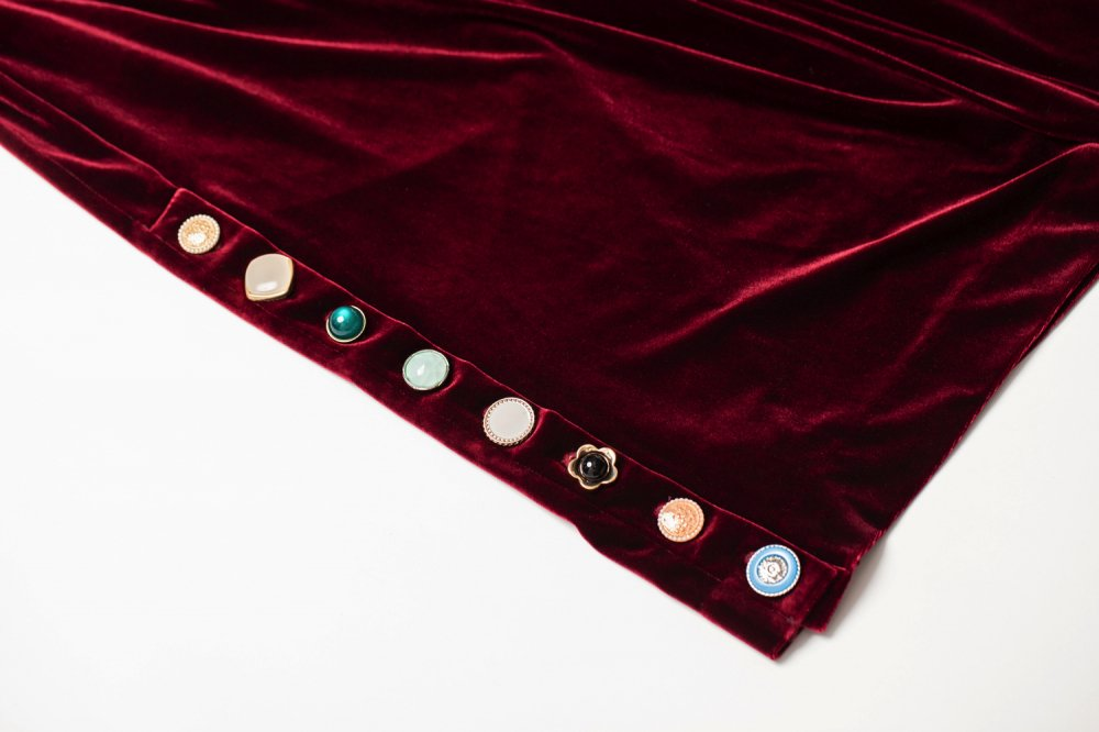 THE VARIOUS VINTAGE BUTTON VELOUR WIDE PANTS (WINE RED)