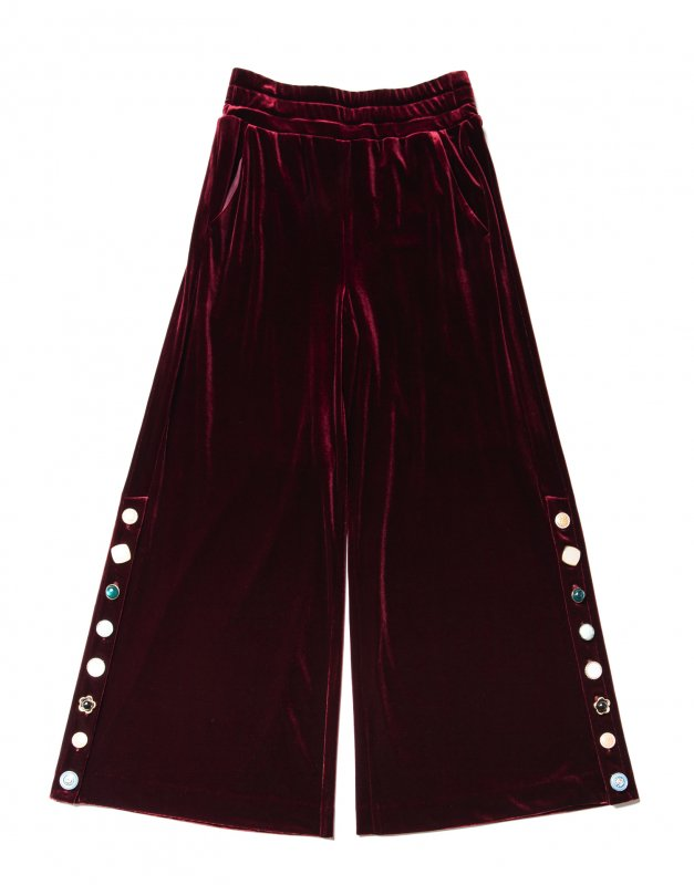 GYF TOKYO - THE VARIOUS VINTAGE BUTTON VELOUR WIDE PANTS (WINE RED)