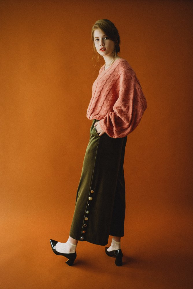 THE VARIOUS VINTAGE BUTTON VELOUR WIDE PANTS (MOSS GREEN)