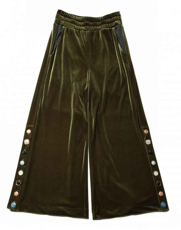 GYF TOKYO - THE VARIOUS VINTAGE BUTTON VELOUR WIDE PANTS (MOSS GREEN)
