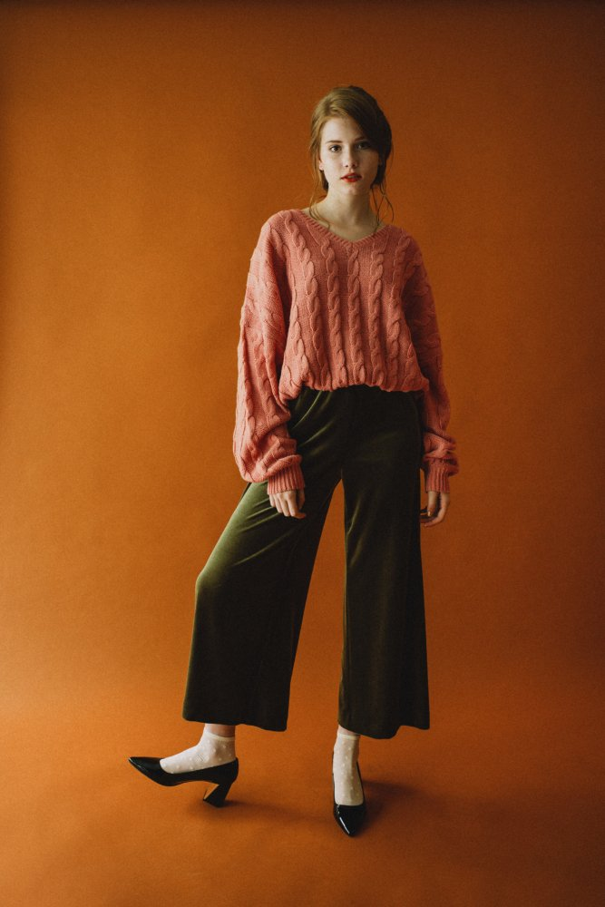 THE DOLMAN SLEEVE CABLE KNIT (SALMON PINK)