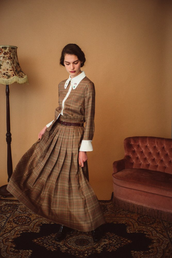 THE CHECK PLEATED LONG SKIRT