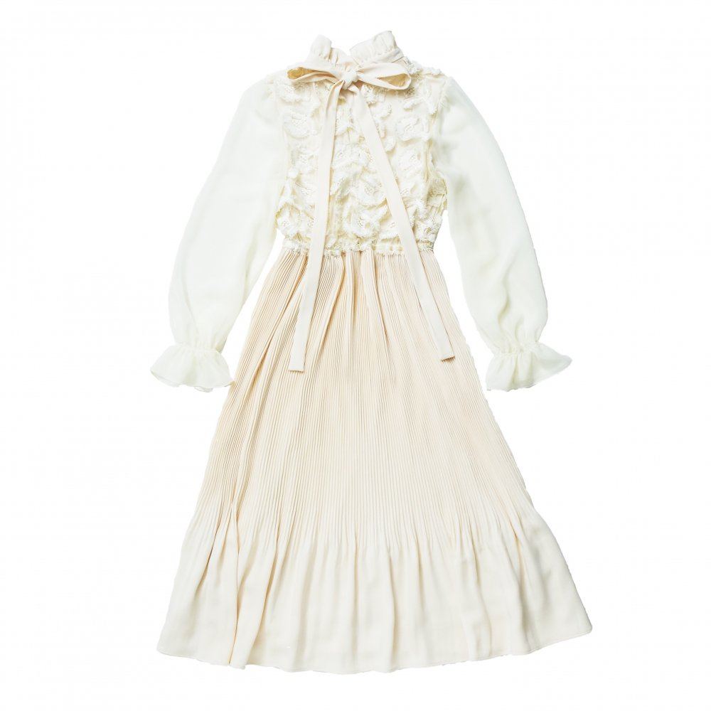THE 3D LACE CHIFFON PLEATED DRESS (IVORY)