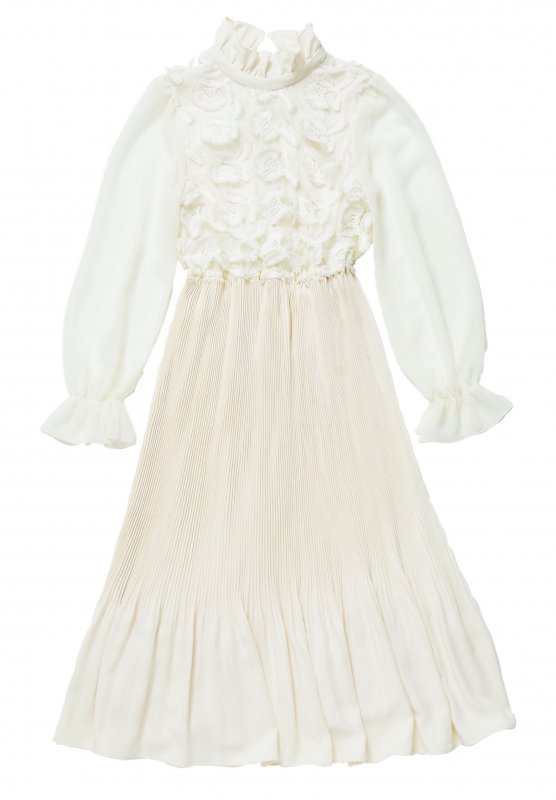 GYF TOKYO - THE 3D LACE CHIFFON PLEATED DRESS (IVORY)