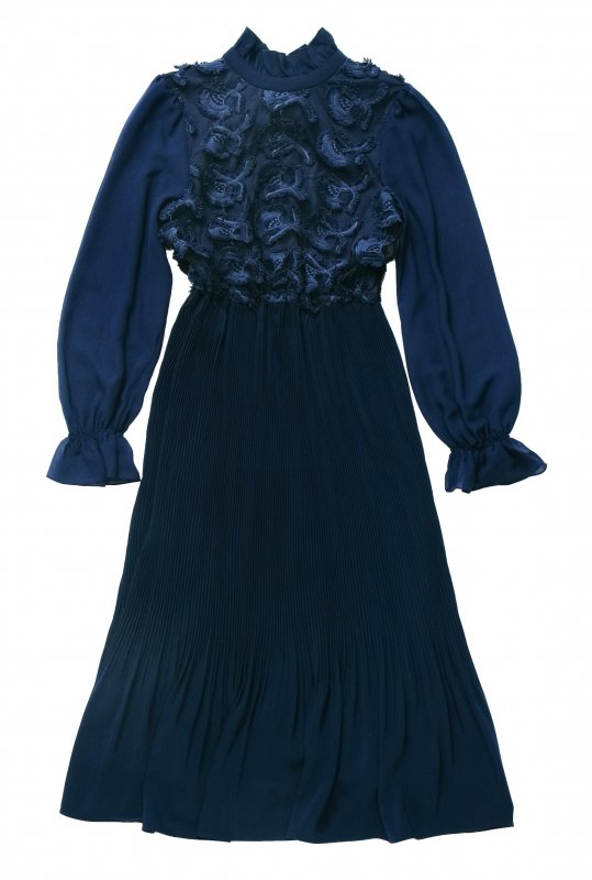 GYF TOKYO - THE 3D LACE CHIFFON PLEATED DRESS (NAVY)