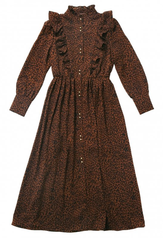 GYF TOKYO - THE PATTERNED FRILL MAXI LENGTH DRESS (LEOPARD)