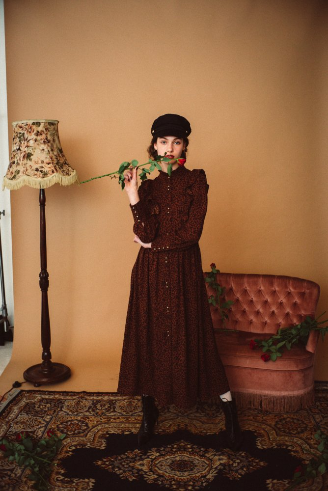 THE PATTERNED FRILL MAXI LENGTH DRESS (VINTAGE PATTERN)