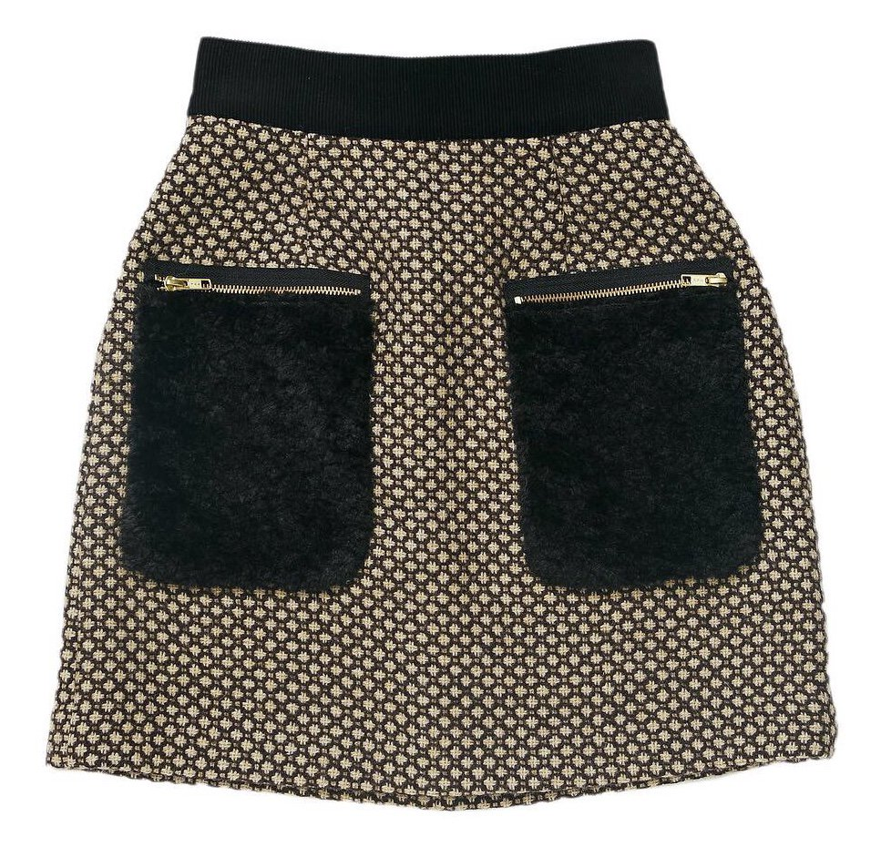 THE FUR POCKET TWEED MINI SKIRT (BROWN)