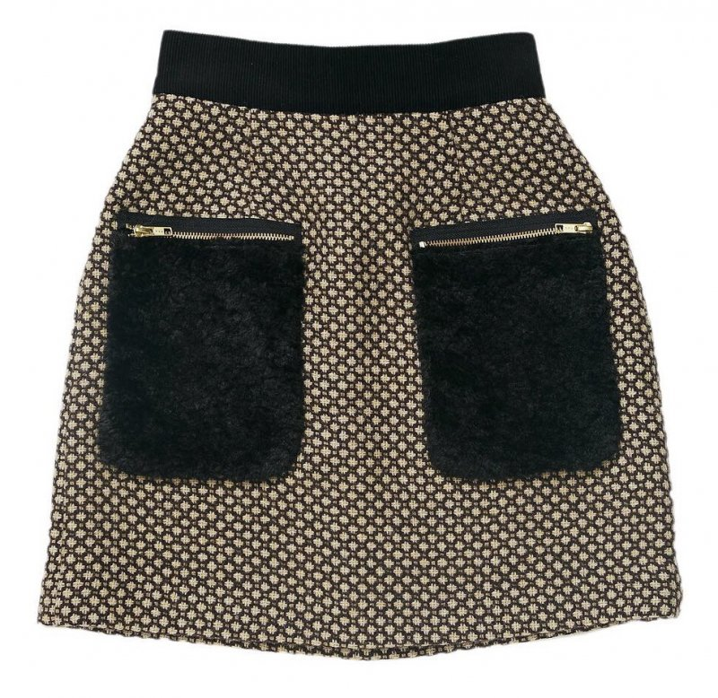 GYF TOKYO - THE FUR POCKET TWEED MINI SKIRT (BROWN)