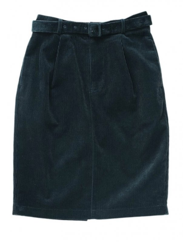 GYF TOKYO - THE CORDUROY PENCIL SKIRT (GREEN BLUE)