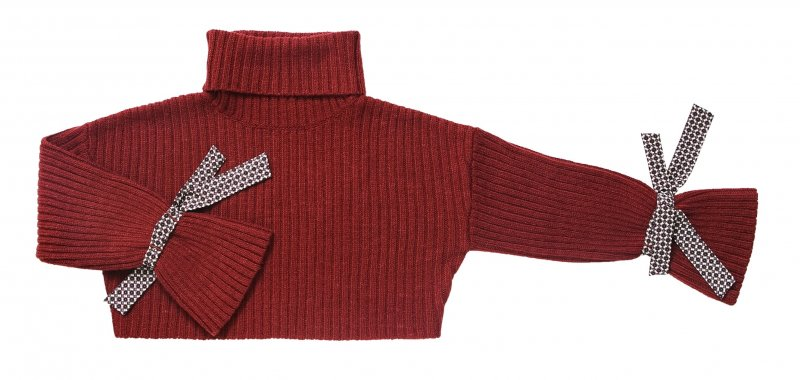 GYF TOKYO - THE VINTAGE SCARF ACCENT RIB KNIT (WINE RED)