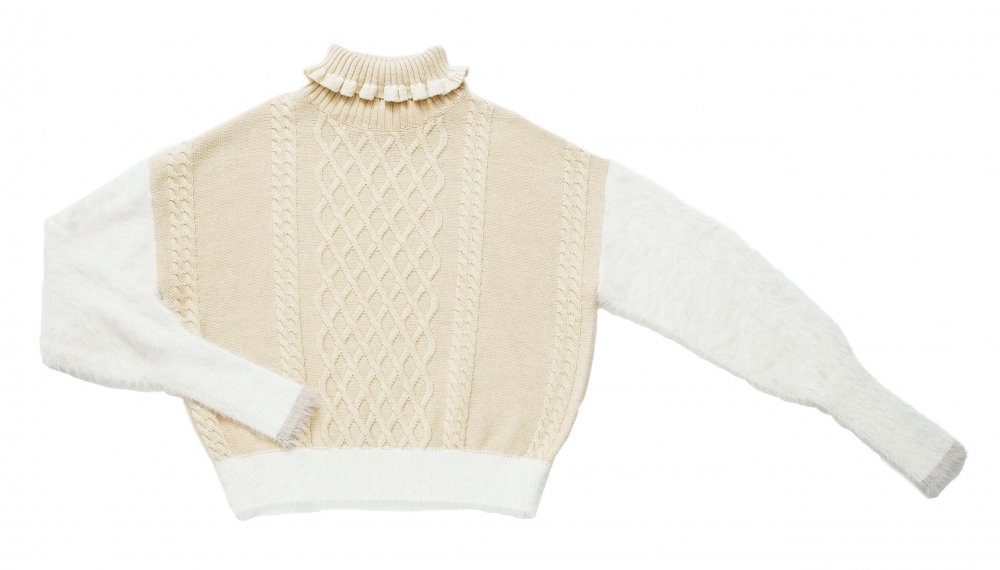 THE SHAGGY DOCKING TURTLE NECK KNIT (CREAM)