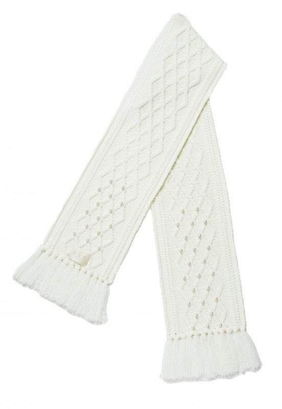 GYF TOKYO - THE PEARL DECORATION CABLE KNIT SCARF