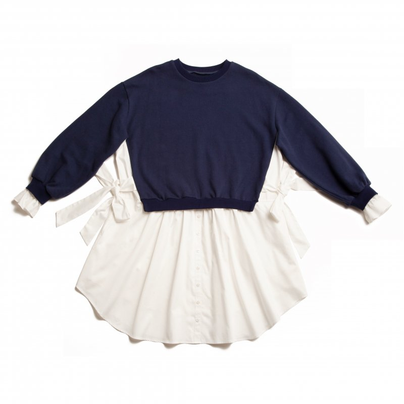 GYF TOKYO - THE SHIRT DOCKING BIG SILHOUETTE SWEAT DRESS(NAVY)