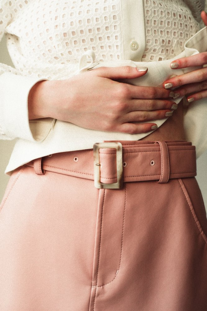 THE ECO LEATHER A-LINE SKIRT WITH BELT (PINK)