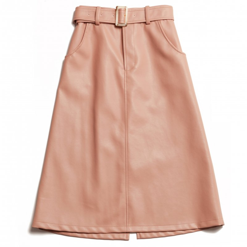 GYF TOKYO - THE ECO LEATHER A-LINE SKIRT WITH BELT (PINK)