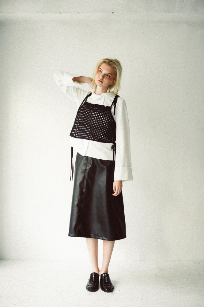 THE ECO LEATHER A-LINE SKIRT WITH BELT (BLACK)<img class='new_mark_img2' src='https://img.shop-pro.jp/img/new/icons21.gif' style='border:none;display:inline;margin:0px;padding:0px;width:auto;' />