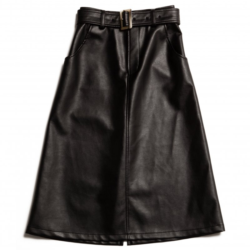 GYF TOKYO - THE ECO LEATHER A-LINE SKIRT WITH BELT (BLACK)