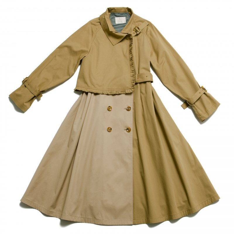 GYF TOKYO - THE BICOLOR PETIT PLEATS TRENCH COAT