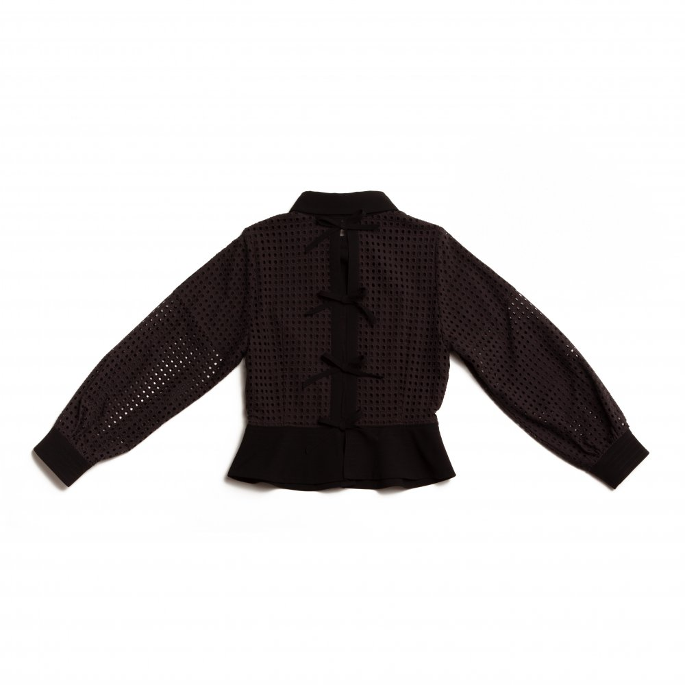 THE SQUARE SEE-THROUGH BACK RIBBON BLOUSE TOPS (BLACK)