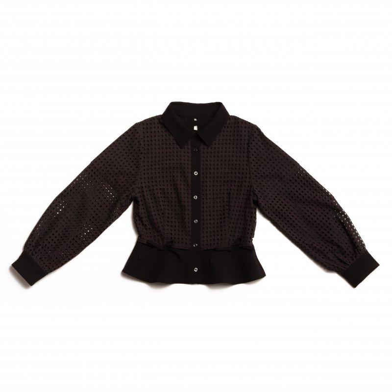 GYF TOKYO - THE SQUARE SEE-THROUGH BACK RIBBON BLOUSE TOPS (BLACK)
